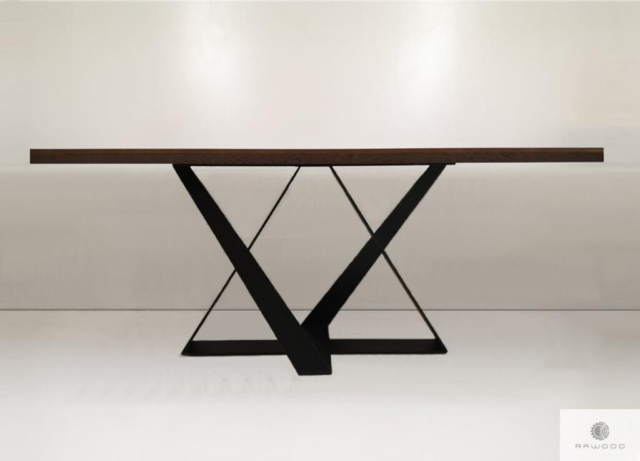 Table of oak wood on metal base to living room BORNEO find us on https://www.facebook.com/RaWoodpl/