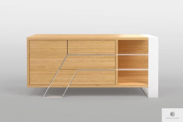 Modern oak TV cabinet on metal legs to living room BORA Furniture Manufacturer RaWood Premium Furniture