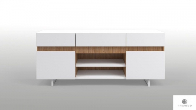 Modern white TV cabinet on metal legs solid wood to living room DORIS find us on https://www.facebook.com/RaWoodpl/