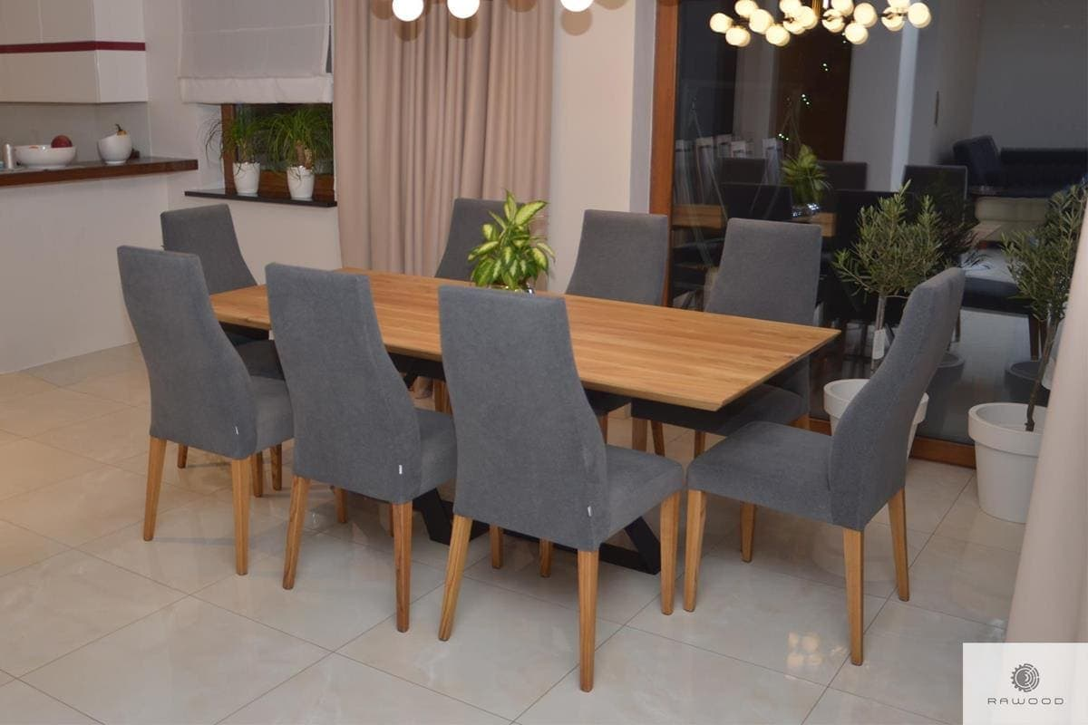 Industrial oak table on metal base to dining room BORNEO