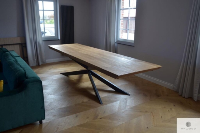 Industrial oak table with extension plates for order DEVON