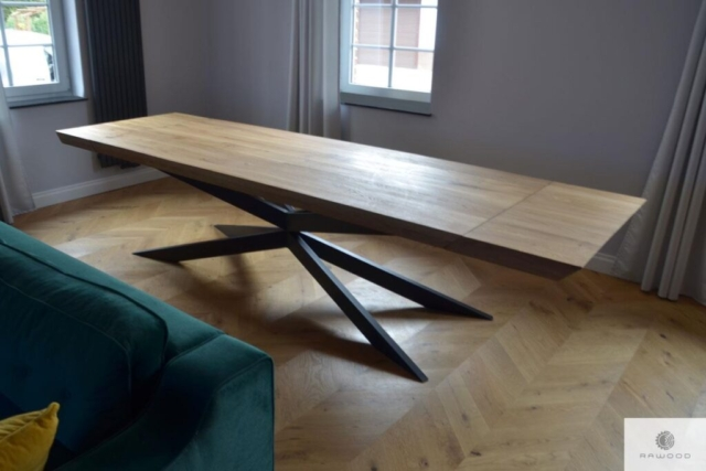 Oak extendable table with extension plates to dining room DEVON