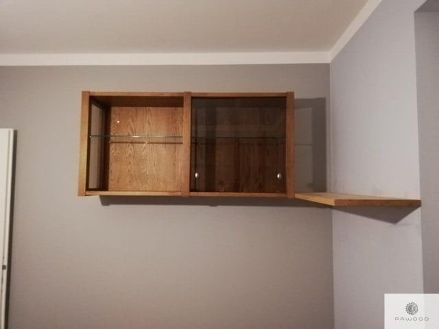 Shelves of solid oak wood and glass to office