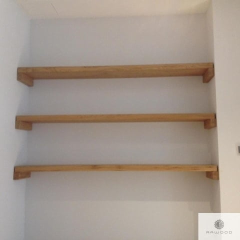 Wooden shelves of solid oak wood to living room