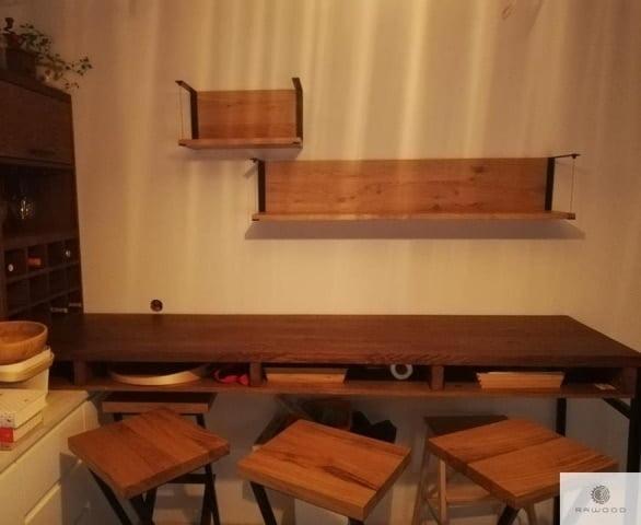 Wooden barstools HUGON and shelves of solid oak wood