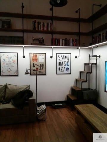 Shelves of solid wood and steel to living room DENAR