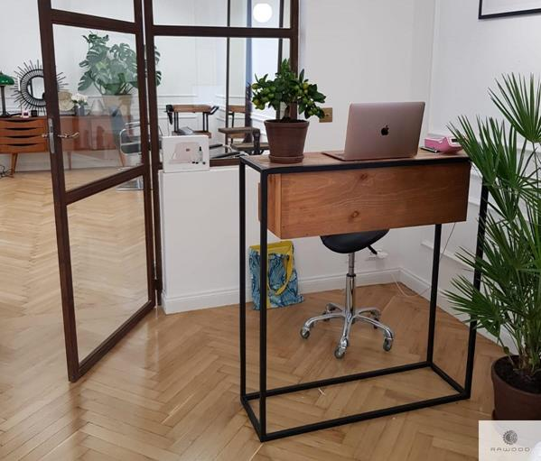 Wooden console table loft side table on metal legs