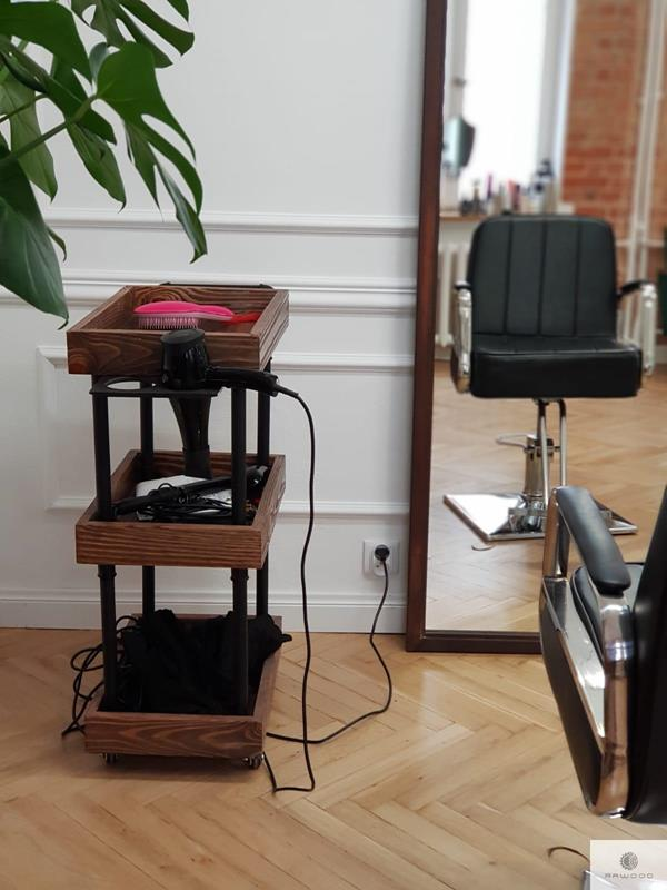Side table, hair trolley of solid wood and black steel