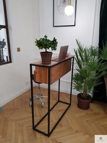 Industrial console table of solid wood with drawers