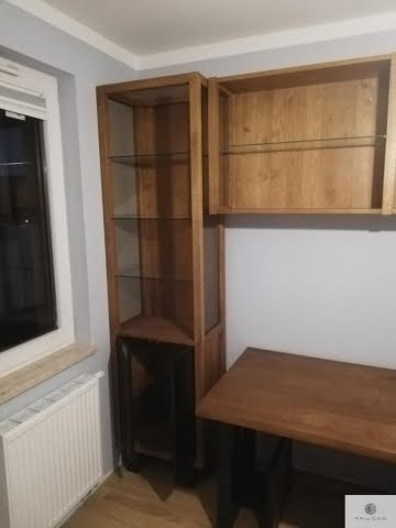 Display cabinet and shelves of oak wood and glass to office