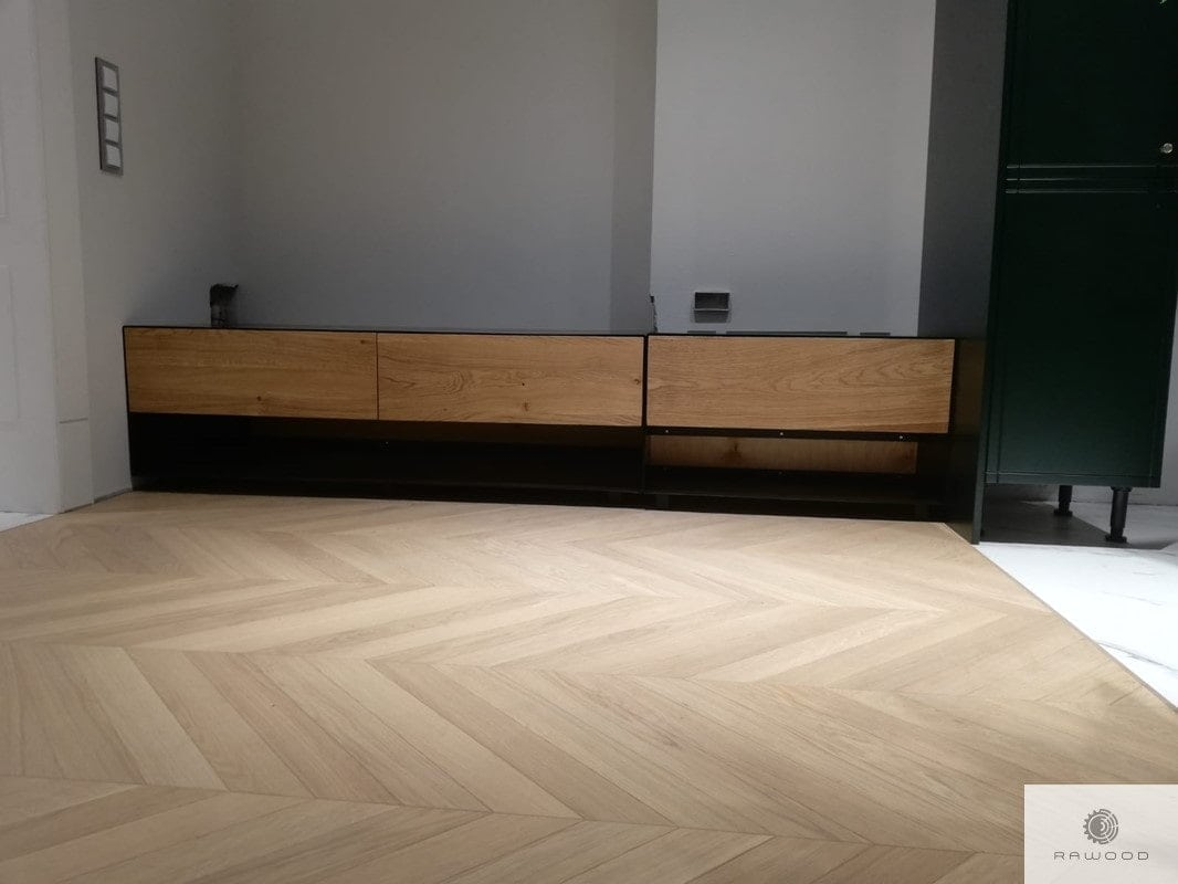 TV cabinet with drawers of solid oak wood and black steel to living room