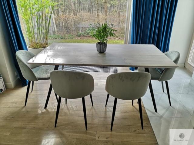 Oak table on metal legs to dining room VITA