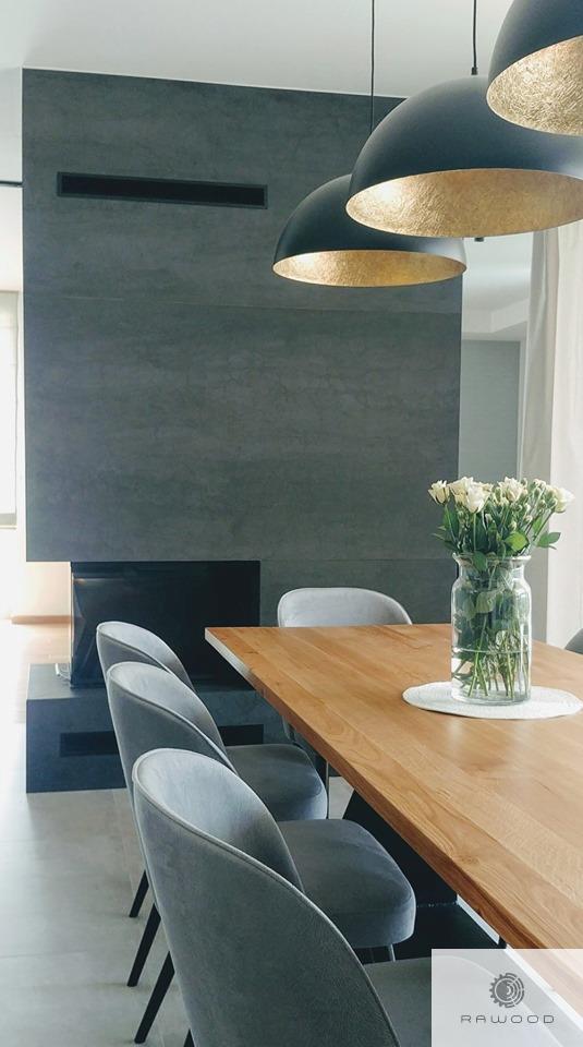 Oak table on black metal base to dining room PHARELL