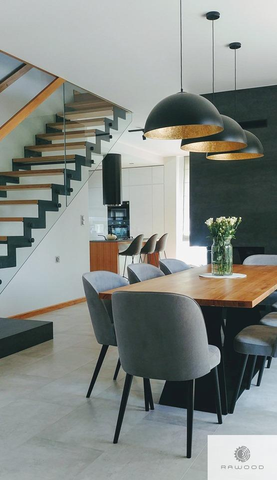 Industrial oak table with black metal base to dining room PHARELL