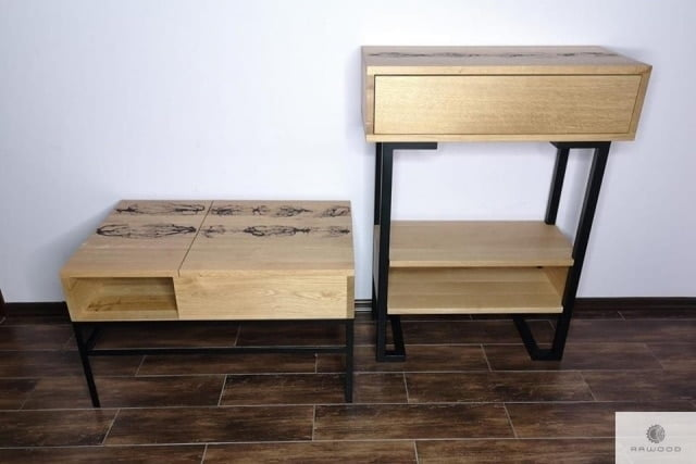 Modern oak side table OLIMPIA and wooden coffee table ASTOR
