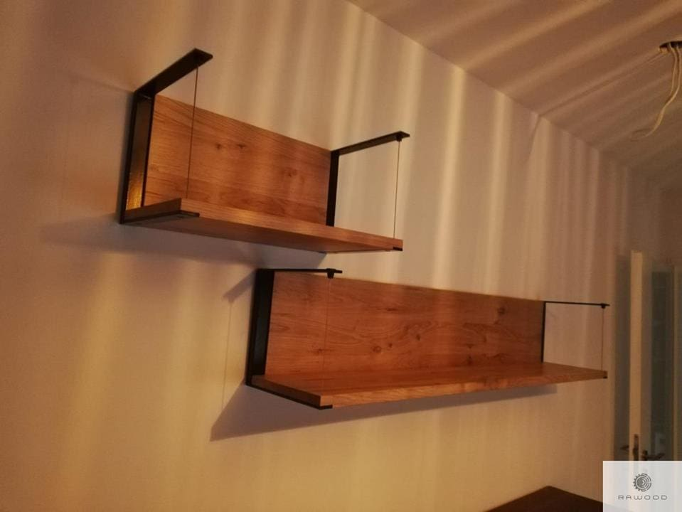 Industrial shelves of solid oak wood and glass
