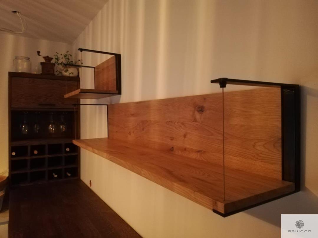 Shelves of oak wood black steel and glass