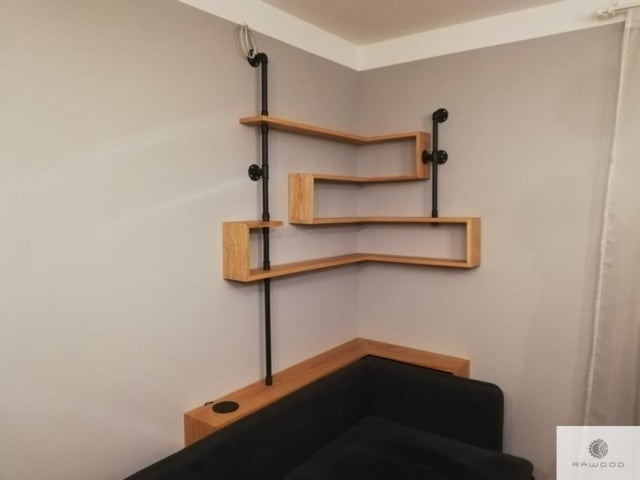 Industrial shelves of solid oak wood and steel to living room