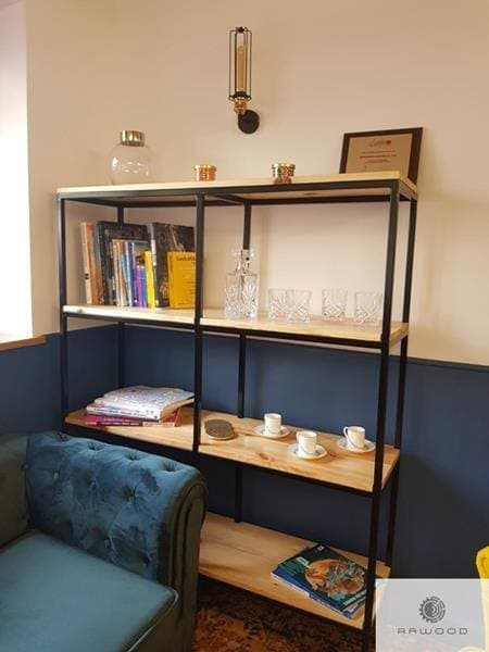 Industrial bookcase of oak wood and steel for office
