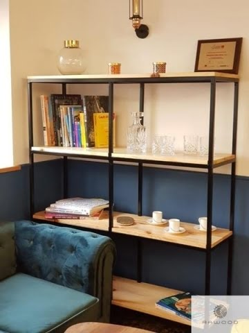 Oak bookcase of solid wood and black steel to office