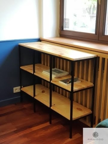 Industrial oak bookcase of solid wood and steel to office