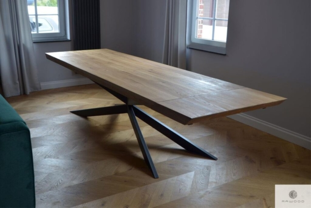 Oak table with metal legs X to living room DEVON