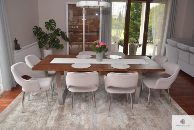Modern table of solid oak wood to dining room MOCCA
