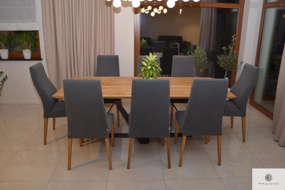 Table of oak wood on metal base to dining room living room BORNEO