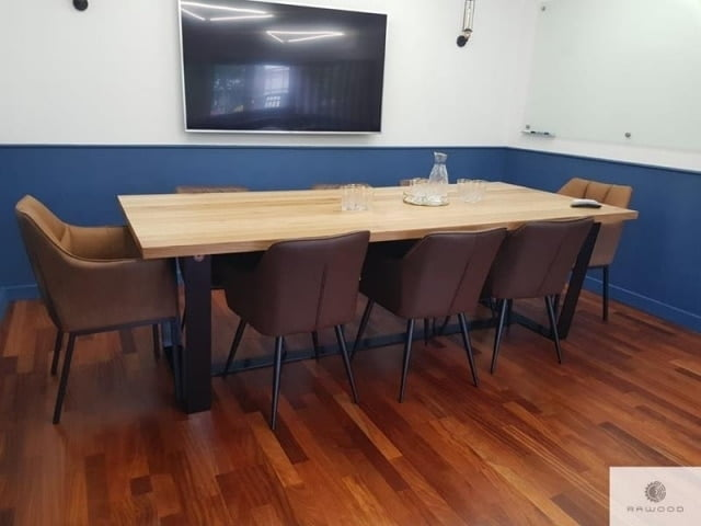 Modern oak table with black metal legs to living room VICTORIA