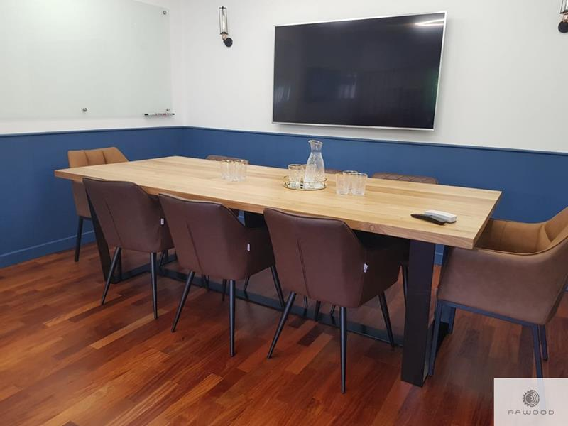 Conference table with oak tabletop on black metal base VICTORIA