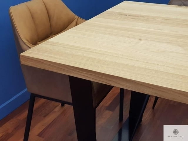Table with oak tabletop of natural solid oak wood VICTORIA