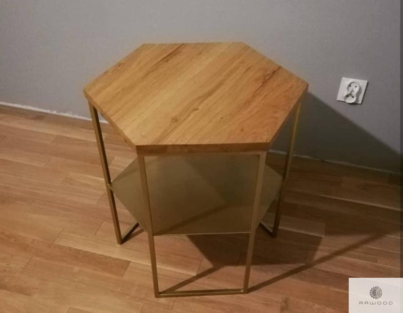 Coffee table with oak tabletop and steel legs to living room