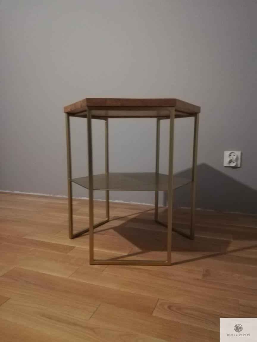 Coffee table of solid wood and metal legs