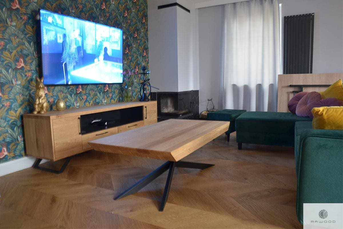 TV cabinet of oak wood JORGEN and industrial oak coffee table DEVON