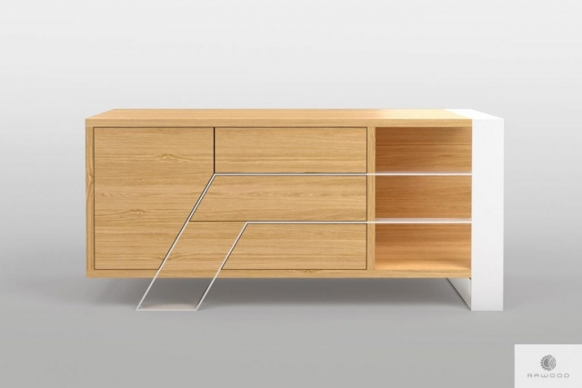 Modern oak TV cabinet on metal legs to living room BORA