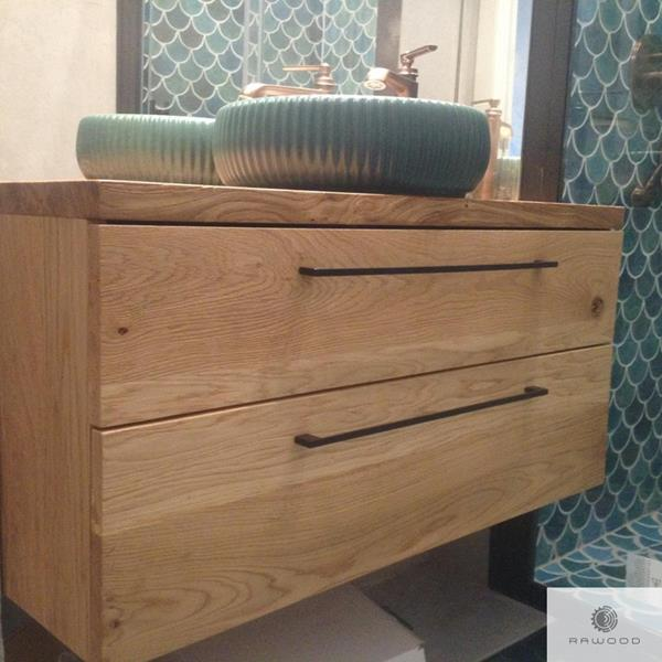 Bathroom cabinet of solid oak wood with drawers