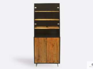 Elegant display cabinet of solid wood with glass to living room NESCA II