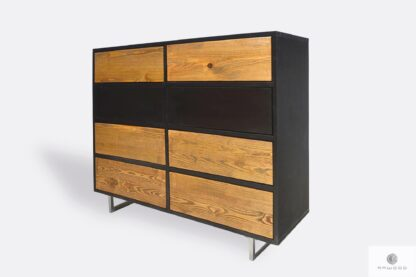 Modern chest of drawers of solid wood and laminated board to living room NESCA II