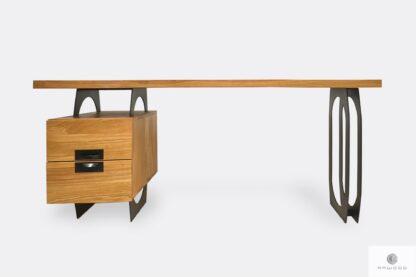 Oak desk with metal legs to office WALT