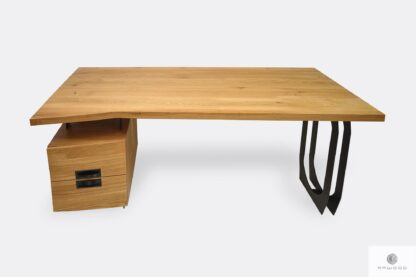Desk of solid oak wood and black steel with drawers WALT