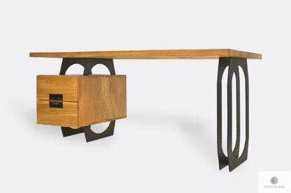 Oak office desk on metal legs to office WALT