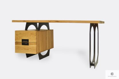 Industrial oak desk on metal legs WALT