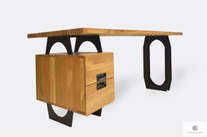 Industrial oak desk with drawers and black metall legs WALT