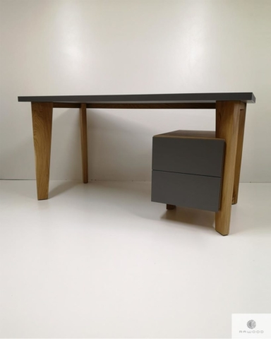 Design desk with wooden legs and cabinet to office GRAND find us on https://www.facebook.com/RaWoodpl/