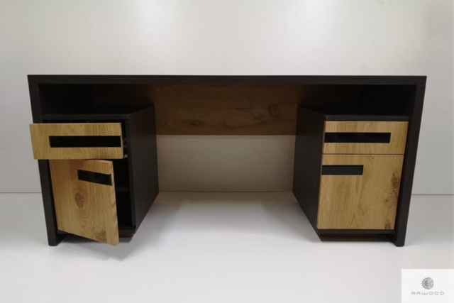 Oak modern desk of solid wood to office LAGOS find us on https://www.facebook.com/RaWoodpl/