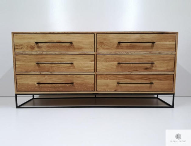 Industrial chest of drawers made of oak wood to living room find us on https://www.facebook.com/RaWoodpl/