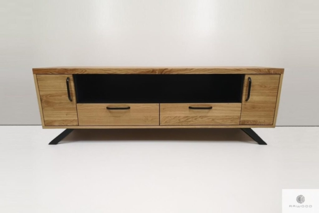 TV cabinet of oak wood and steel to living room find us on https://www.facebook.com/RaWoodpl/