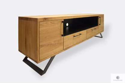 Industrial oak cabinet under TV of wood and steel JORGEN