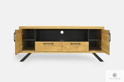Wooden TV cabinet in industrial style with drawers JORGEN