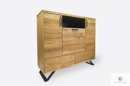 Industrial oak chest of drawers on metal legs JORGEN